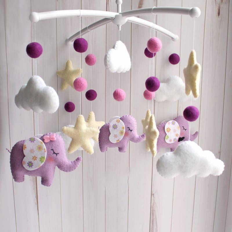 Детский мобиль handmade в подарок Сиреневый слоник