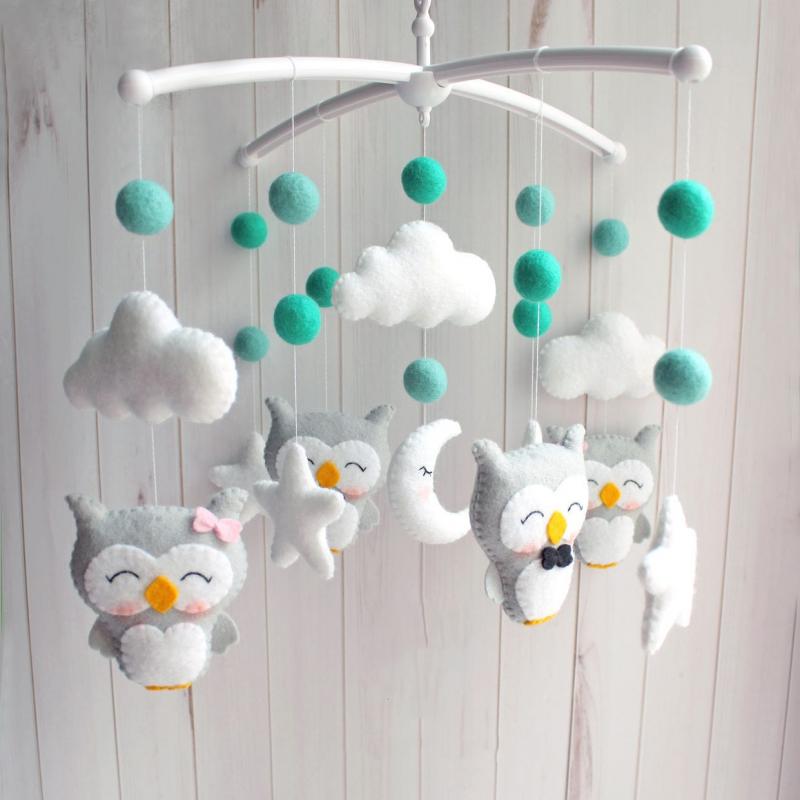 Детский мобиль в кроватку новорожденному Совята и ментоловые шарики