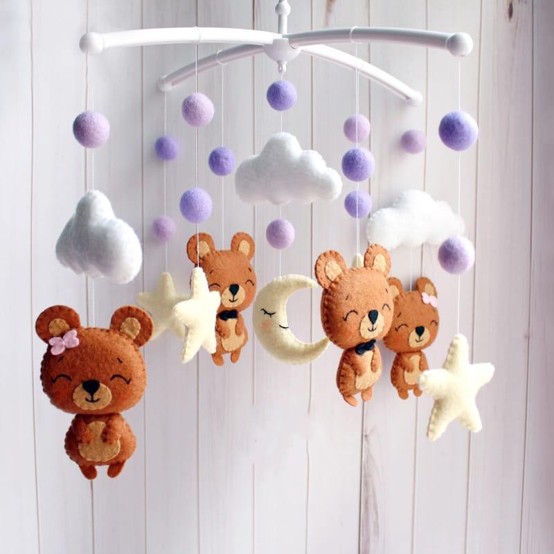 Мобиль в детскую кроватку handmade Веселые медвежата