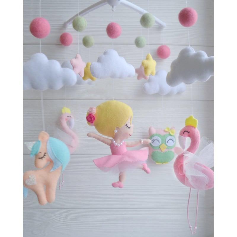 Мобиль для новорожденной девочки в подарок Розовый Фламинго