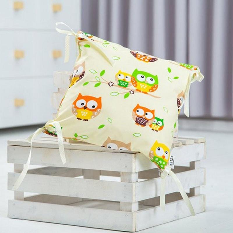 Подушка ручной работы для ребенка Сова кремовый