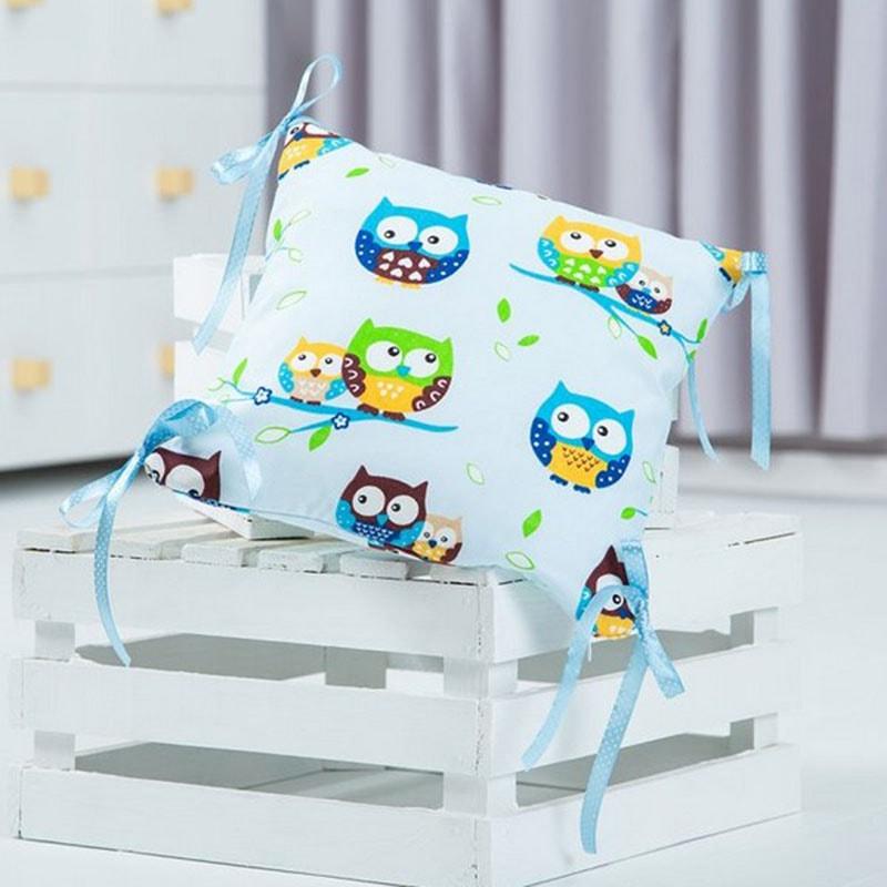 Подушка ручной работы для ребенка Сова голубой