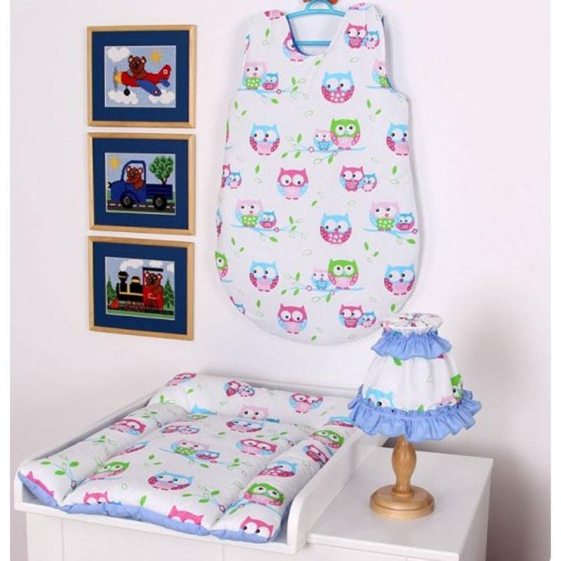 Комплект для новорожденного в подарок Сова голубой
