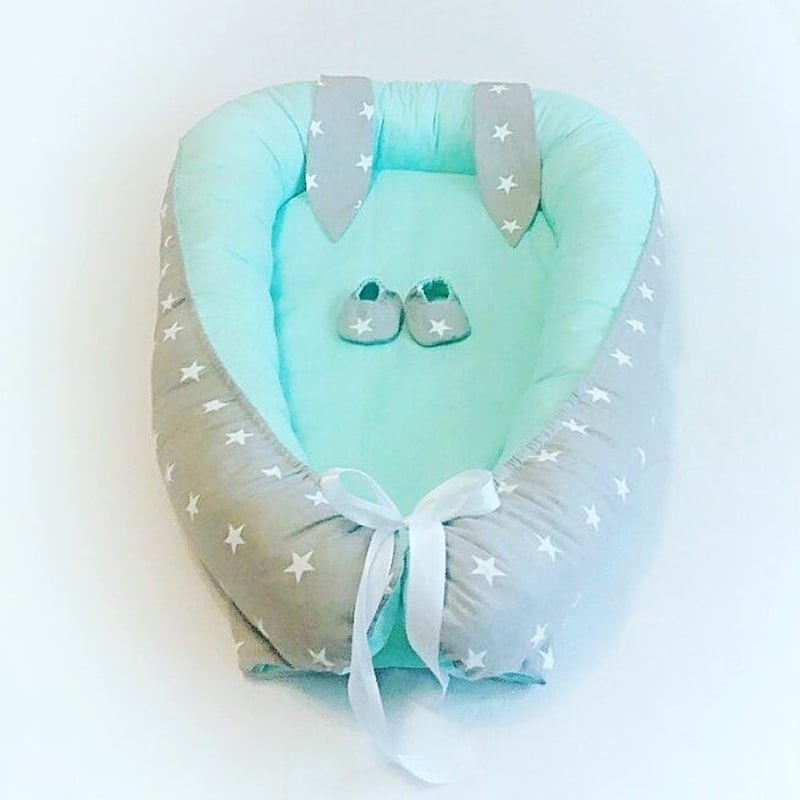 Дизайнерский кокон для мальчика в подарок Заячьи Ушки