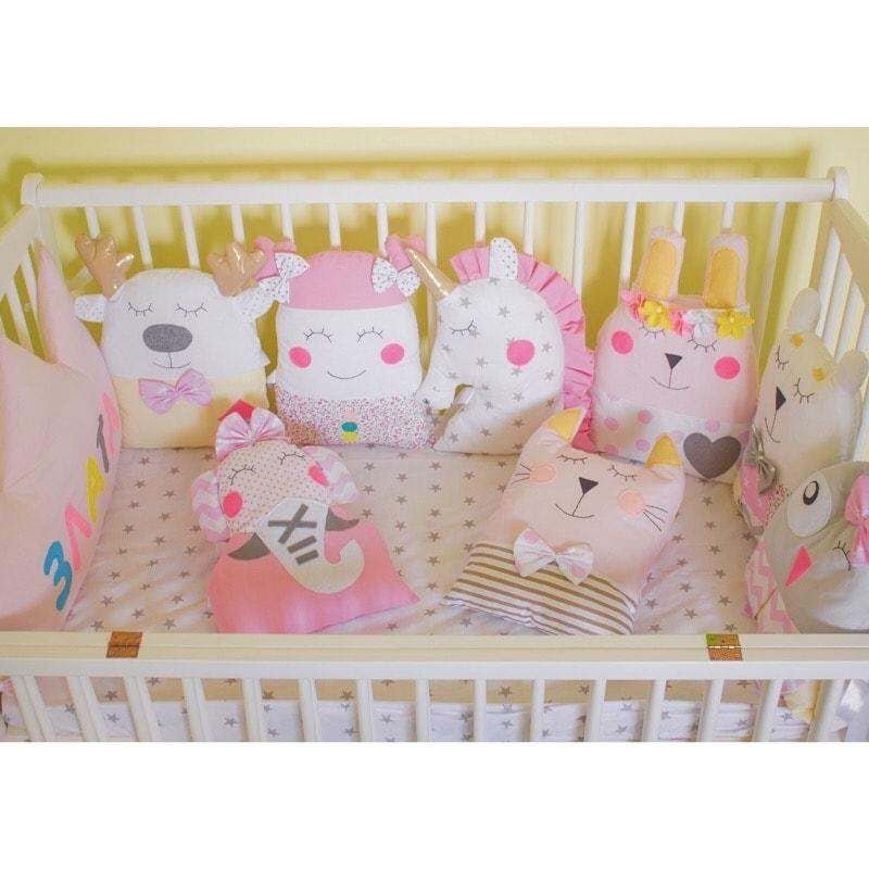 Дизайнерські бортики в ліжечко для дівчинки Принцеса і Єдиноріг