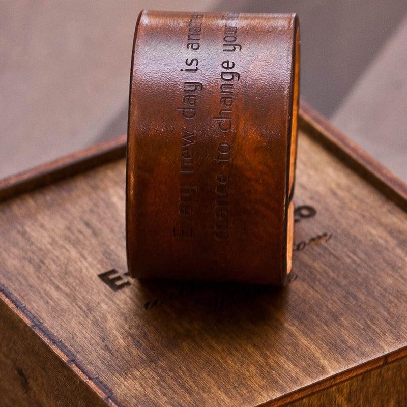 Браслет кожаный Handmade в подарок Именной