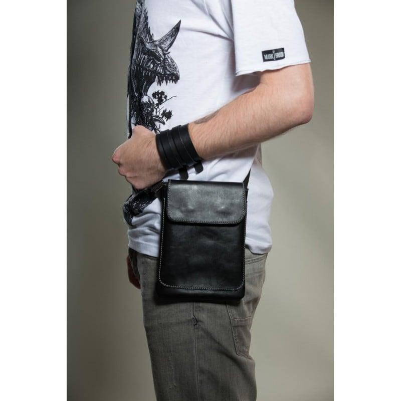 Мужской кожаный браслет Double Strap black leather
