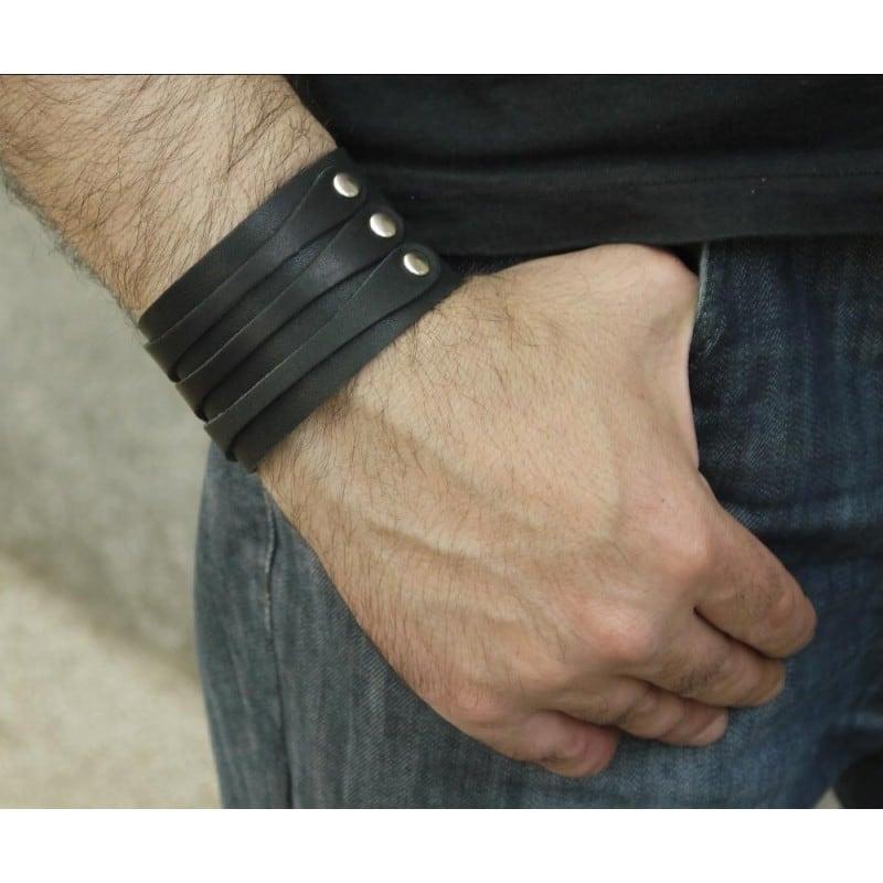 Чоловічий Браслет шкіра Royal Triplex black leather
