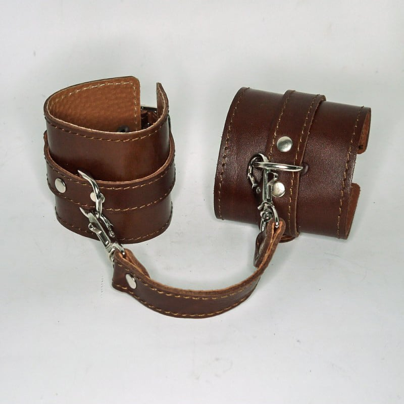 Шкіряний браслет BDSM brown leather
