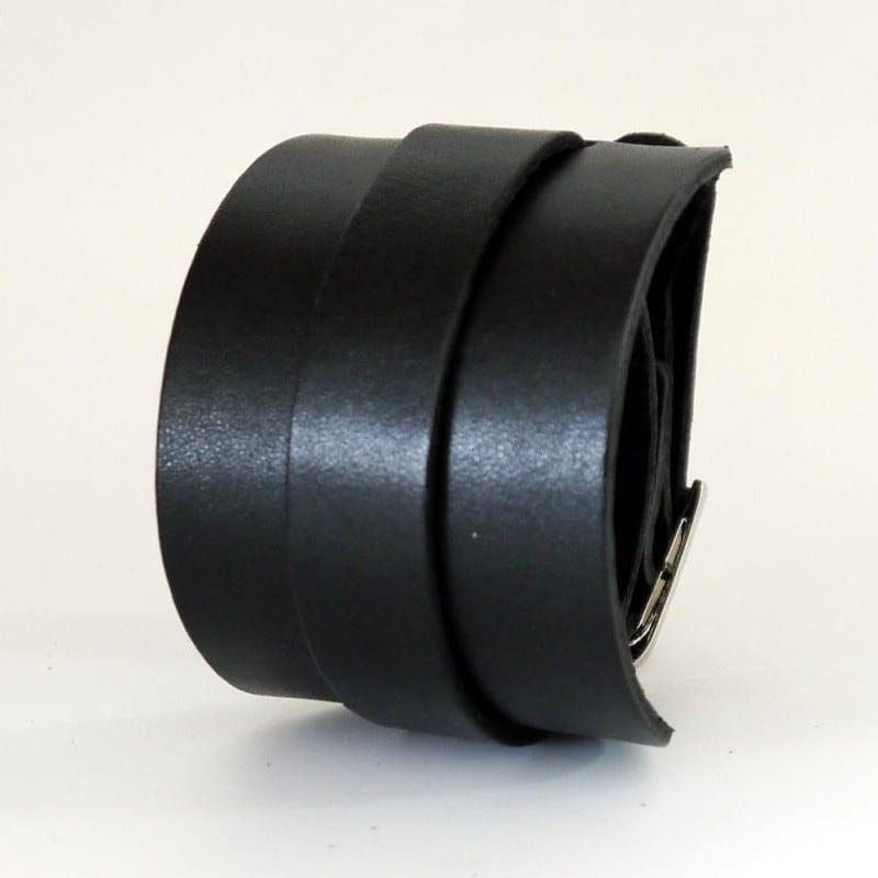 Чоловічий шкіряний браслет Double black leather Belt