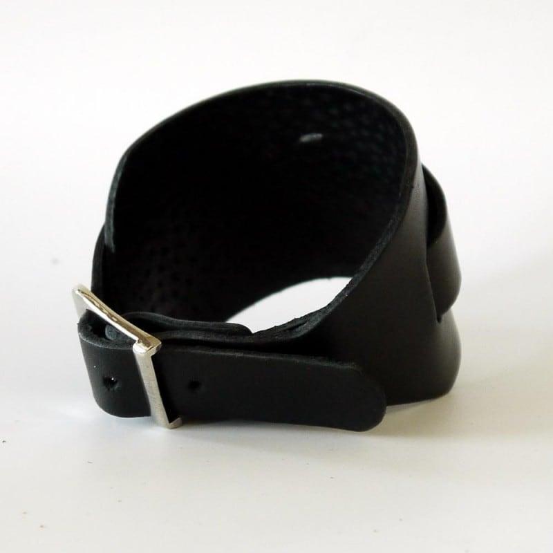 Мужской кожаный браслет Double Belt black leather