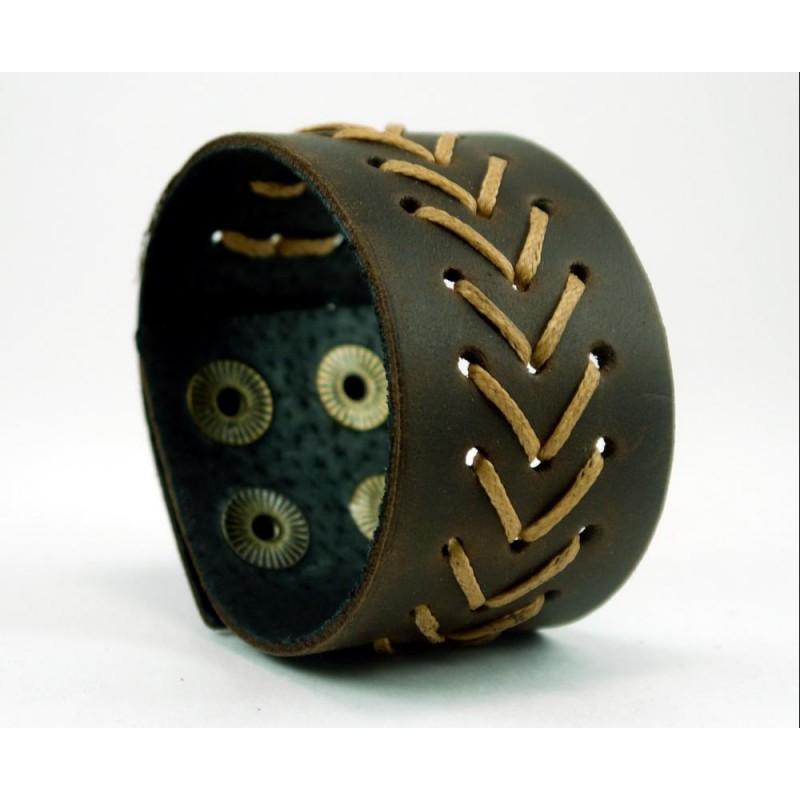 Чоловічий шкіряний браслет Yellow аrrow brown leather