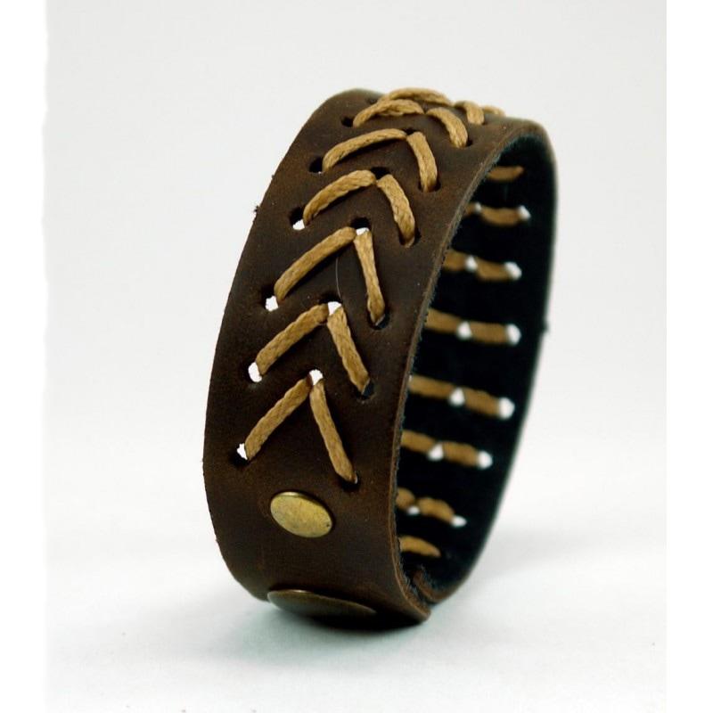 Браслет мужской кожаный Golden Arrow brown leather