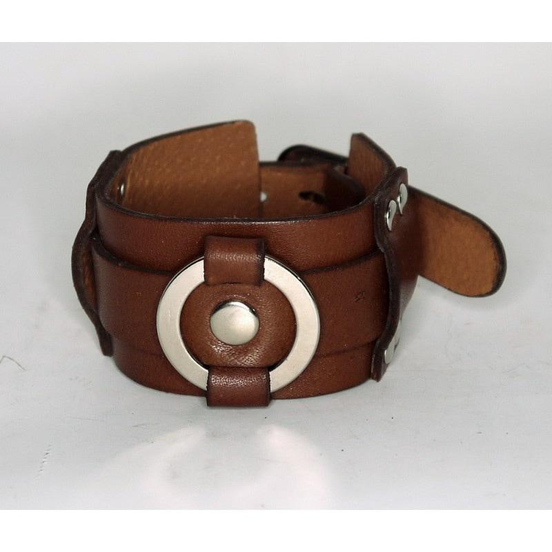 Браслет шкіряний Silver Ring brown leather