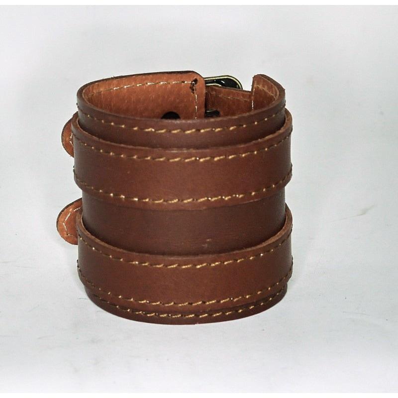 Мужской кожаный браслет Twin Belt brown leather