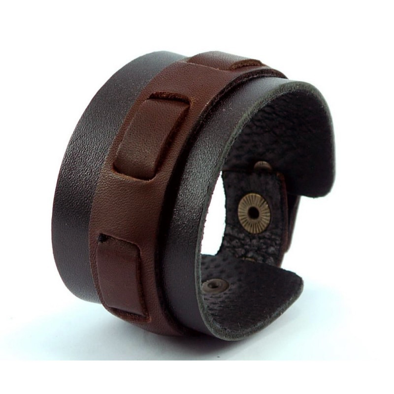 Шкіряний чоловічий браслет Braided Patern black leather