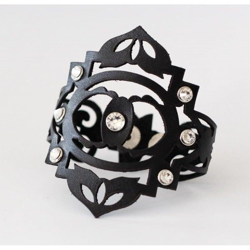 Женский браслет кожа Boho Chic black leather