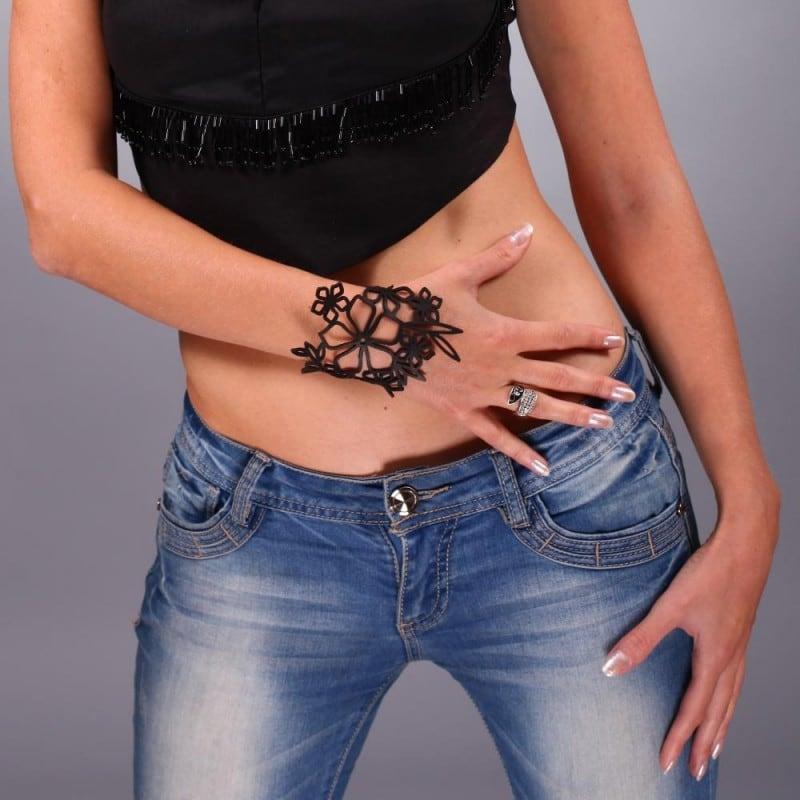 Шкіряний браслет Boho black leather