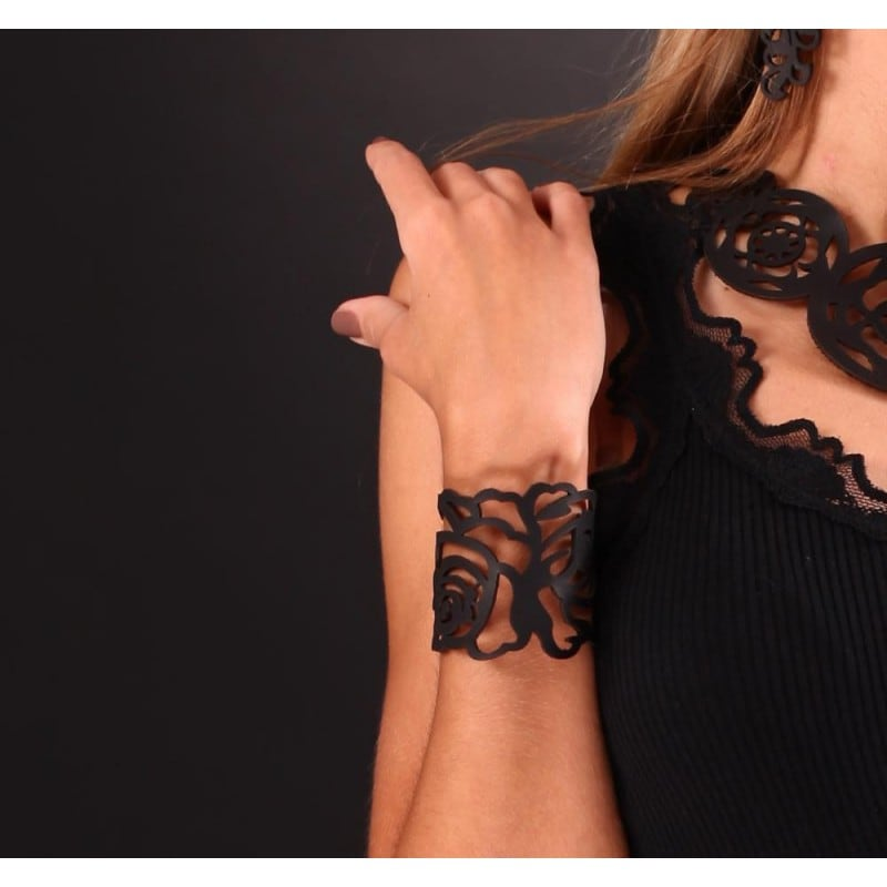 Шкіряний браслет Floral Pattern Black Leather