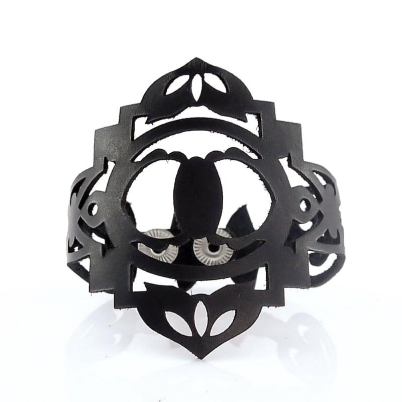 Браслет лазерна шкіра Rococo black leather