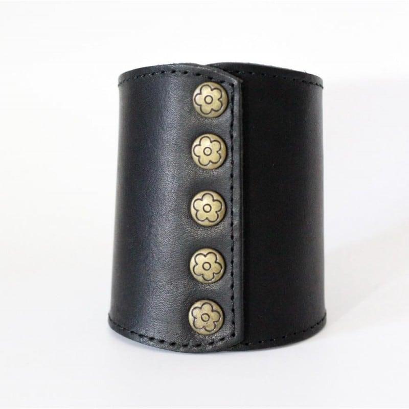 Шкіряний браслет жіночий Victorian Style black leather