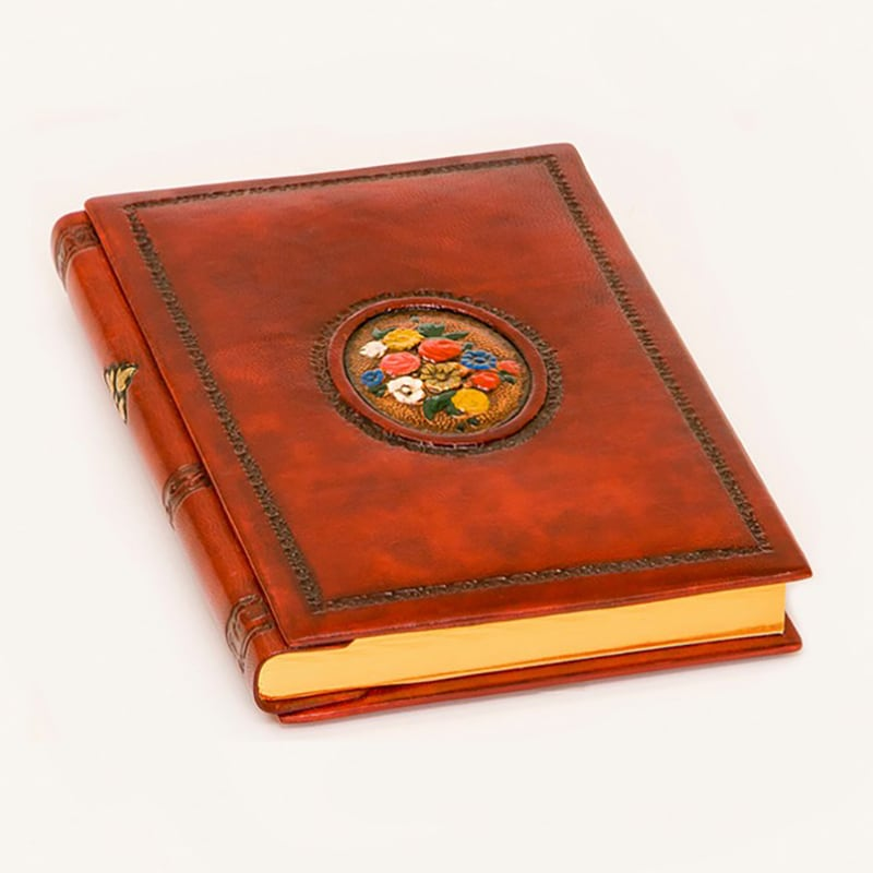 Блокнот в шкіряній обкладинці Flower Vignette brown leather