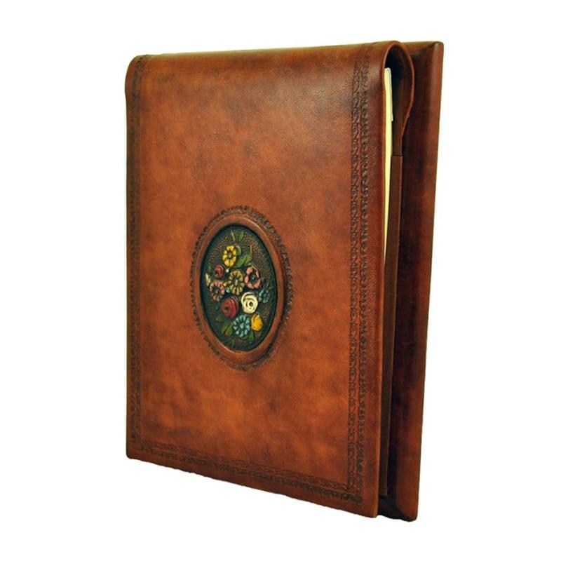 Блокнот в кожаном переплете Полевые Цветы brown leather