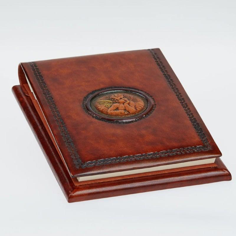 Блокнот в шкіряній палітурці Ангел Рафаеля brown leather