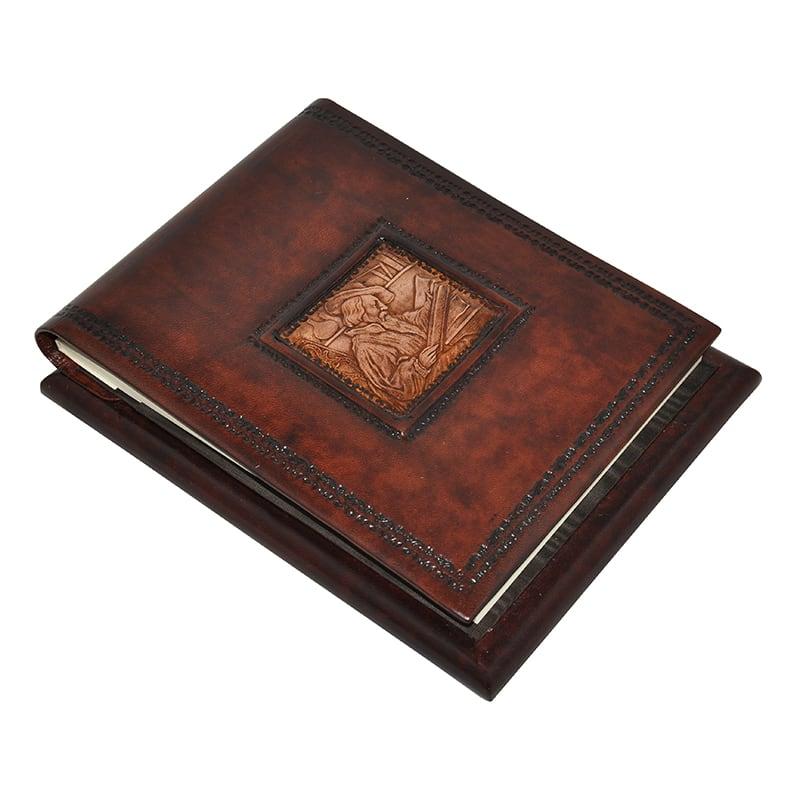 Блокнот в кожаной обложке Леонардо brown leather