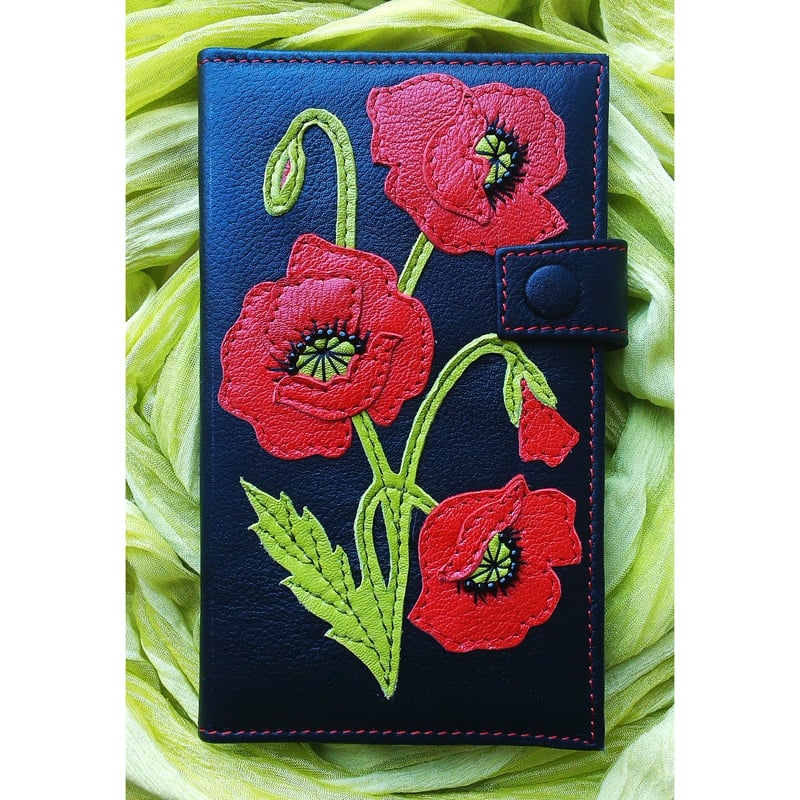 Портмоне женское кожаное RED POPPY black leather