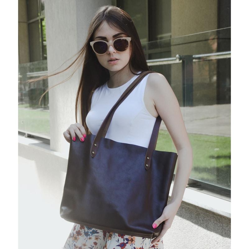 Handmade сумка – шоппер Brown leather