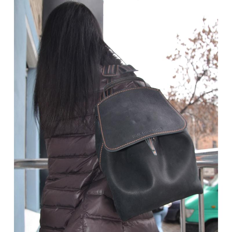 Женский рюкзак Handmade Black leather