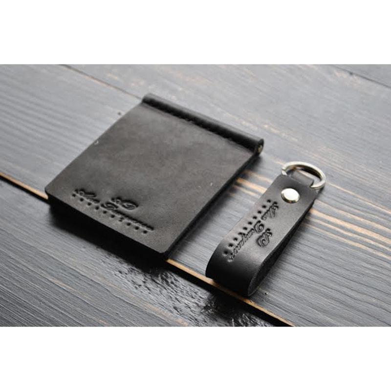 Затискач для купюр і брелок Вlack leather