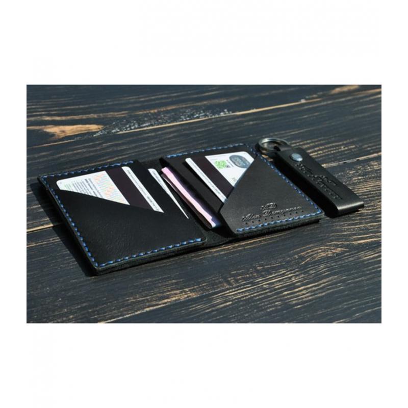 Мужской кошелек и брелок Zircon leather