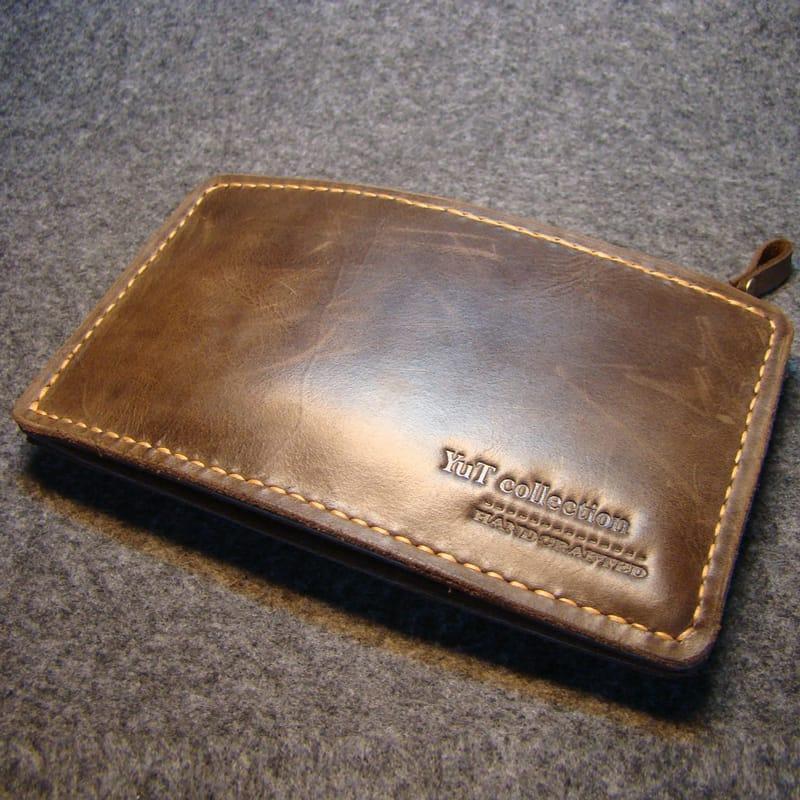 Дизайнерский кошелек Wallet zipper brown leather