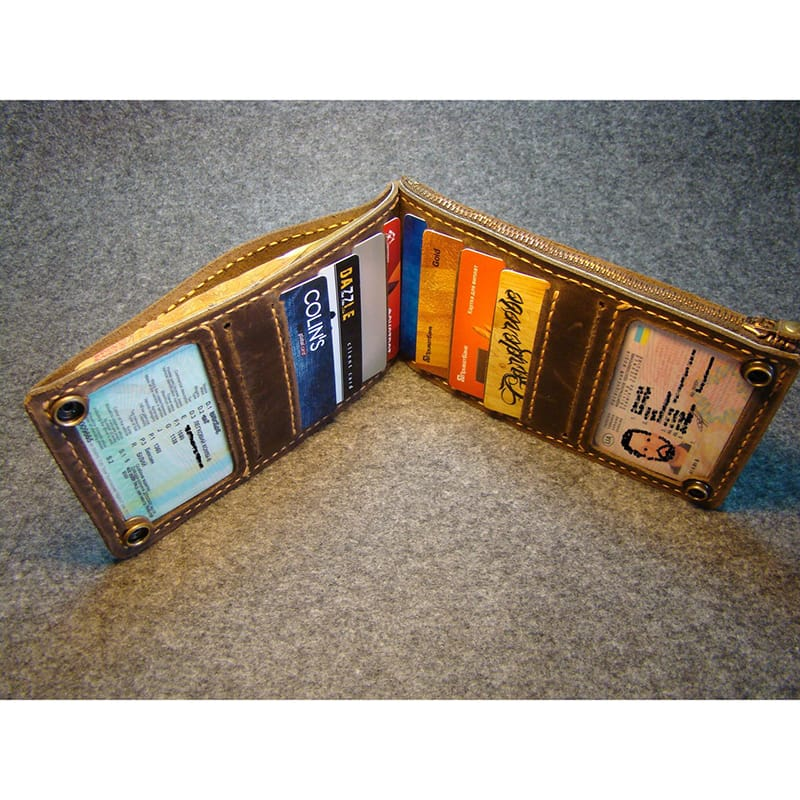 Дизайнерський гаманець Wallet zipper brown leather