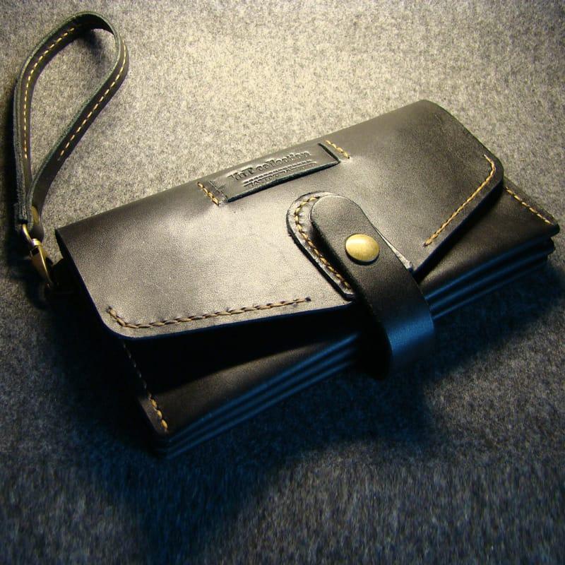 Дизайнерський гаманець Сlutch black leather