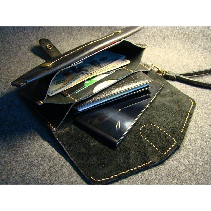 Дизайнерский кошелек Сlutch black leather