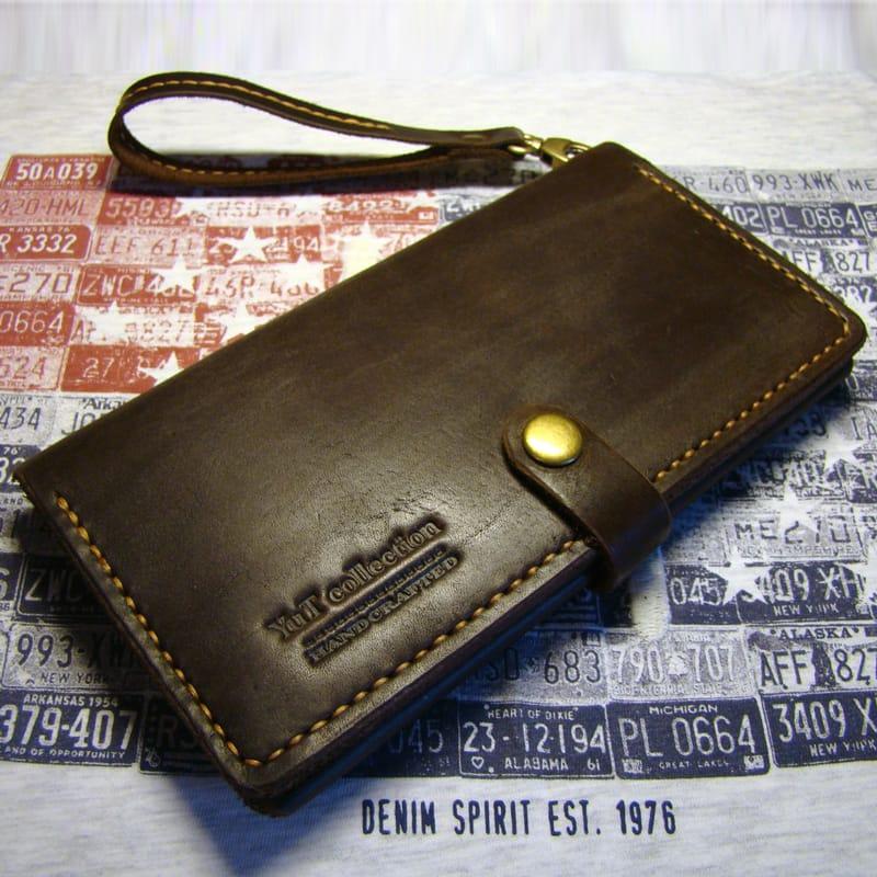 Брендовий клатч Travel brown leather