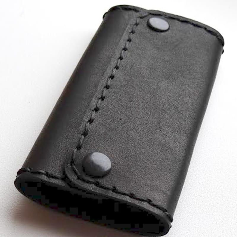 Ключница кожаная в подарок Handmade черная