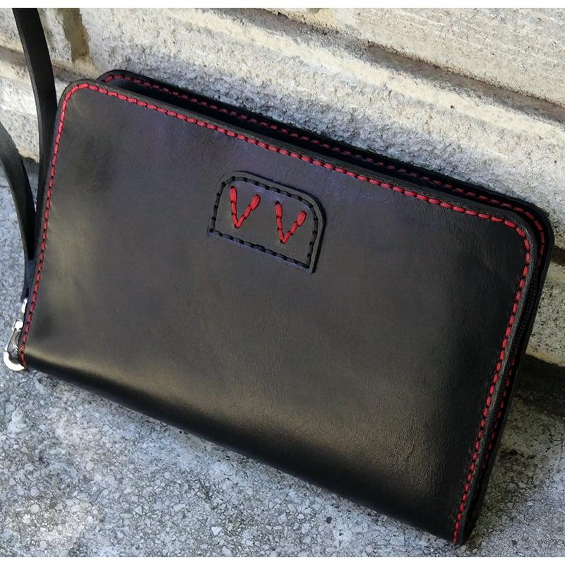 Портмоне клатч мужское Handmade black leather