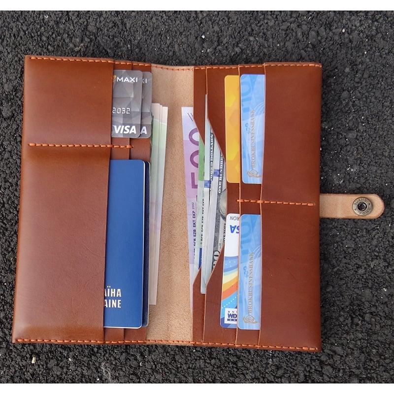 Портмоне мужское для путешествий Handmade Brown leather