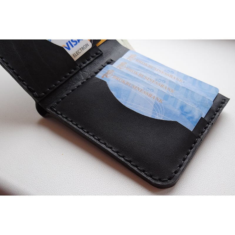 Портмоне мужское в подарок Handmade black leather