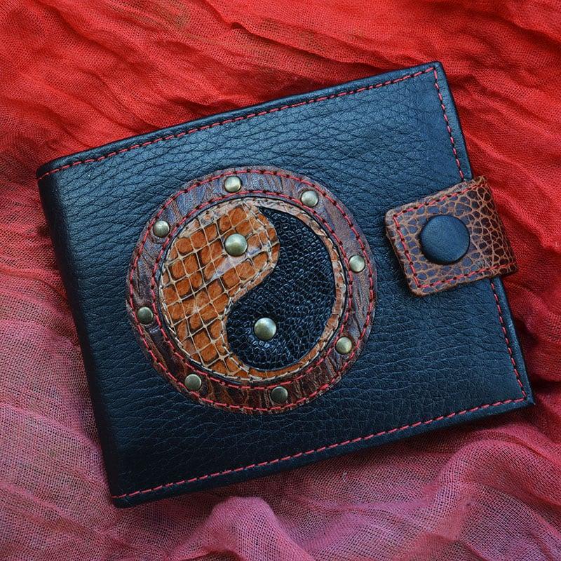 Кошелек кожаный в подарок YIN-YANG python leather
