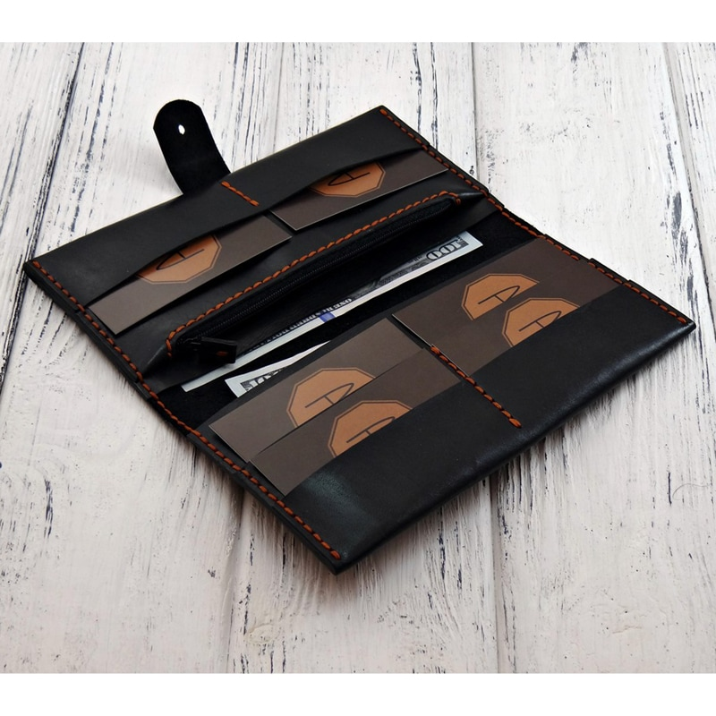 Портмоне кожаное в подарок Long Wallet