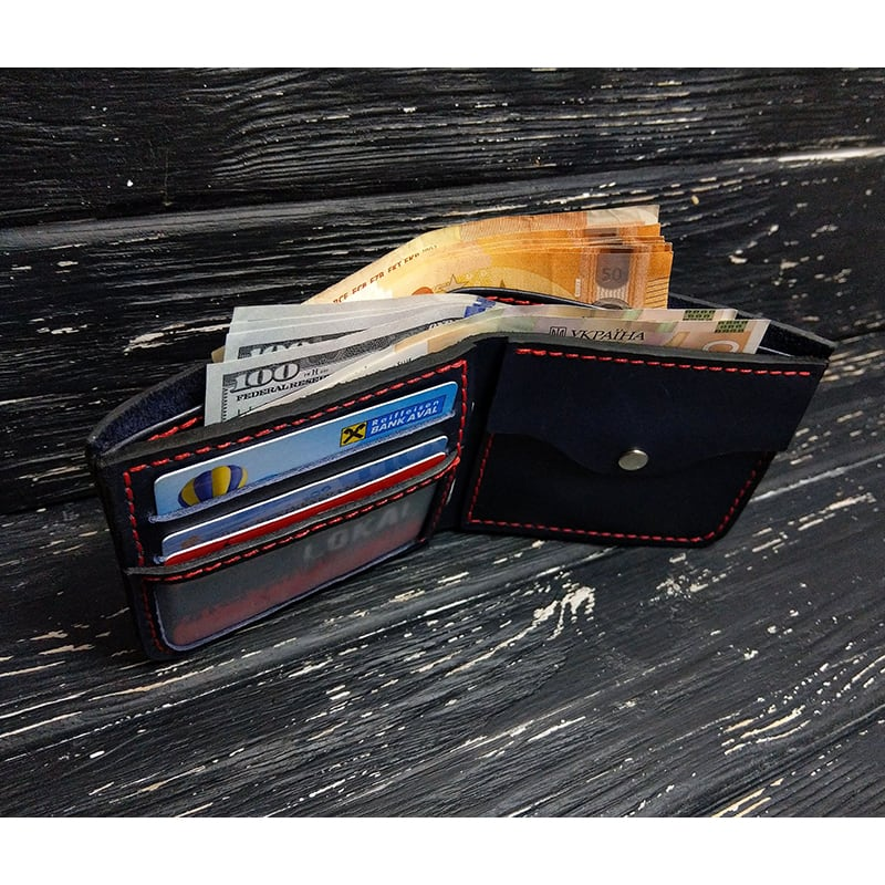 Кожаное портмоне Purse Contrast black leather