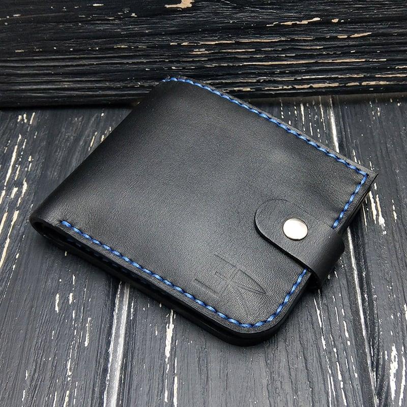 Компактный кошелек кожа Purse Smart black leather