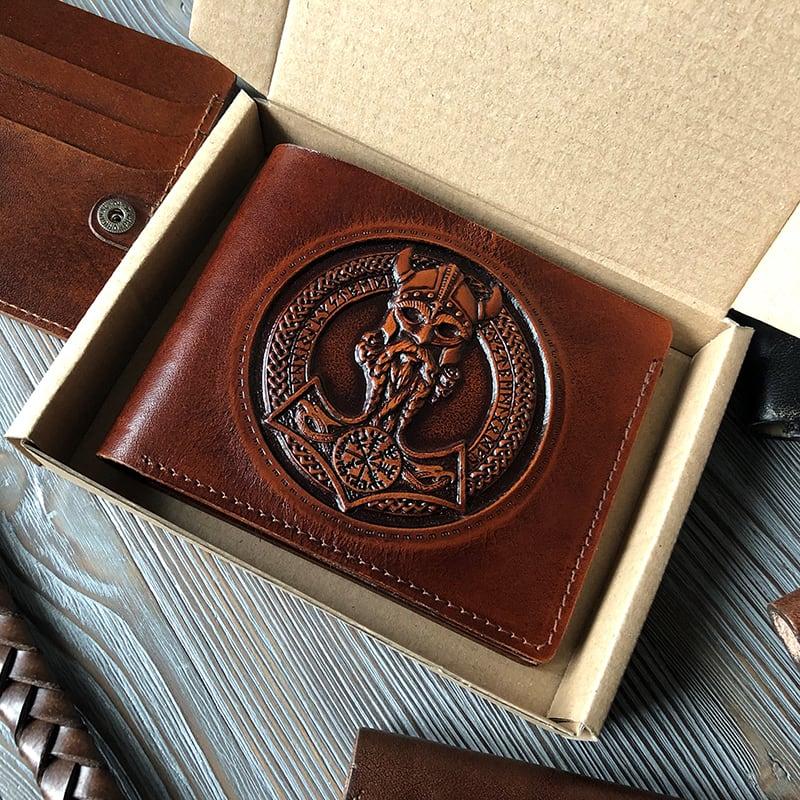Кожаный мужской кошелек Purse Viking brown leather