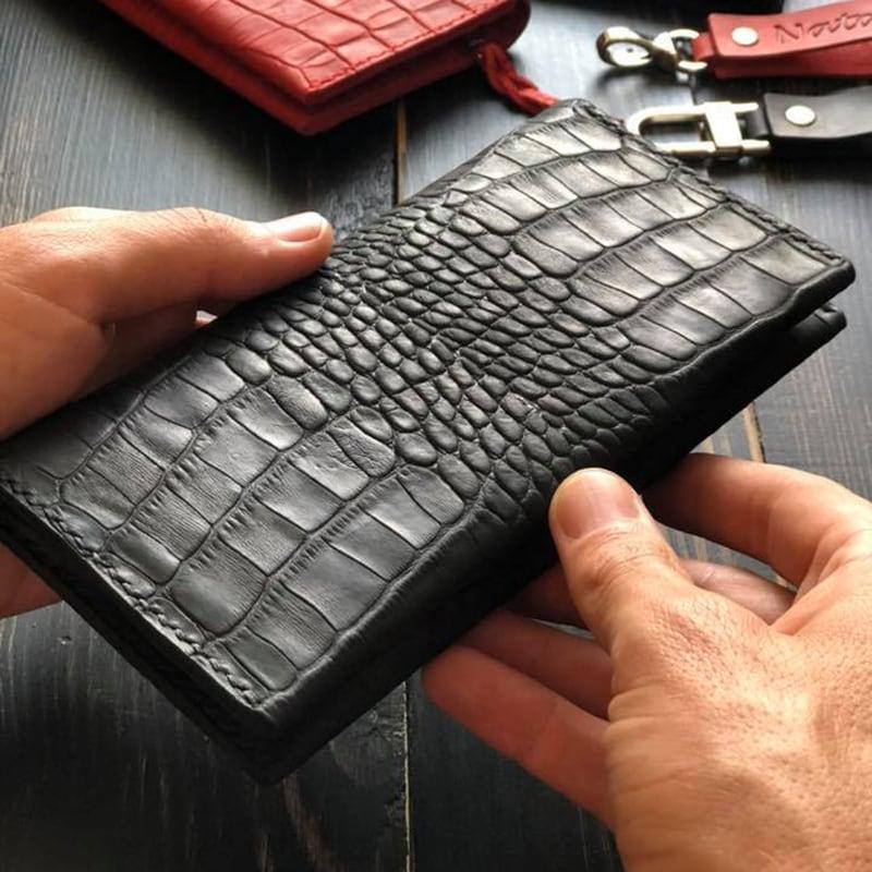 Жіночий шкіряний гаманець Purse Aligator Red / Black leather