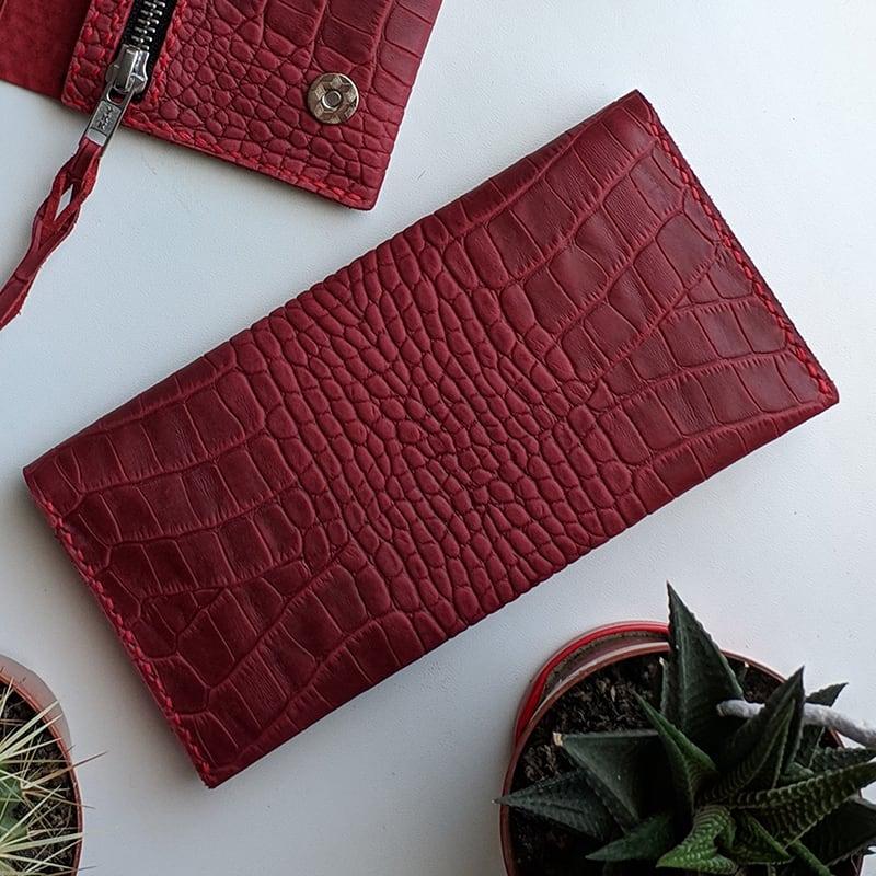 Жіночий шкіряний гаманець Purse Aligator burgundy leather